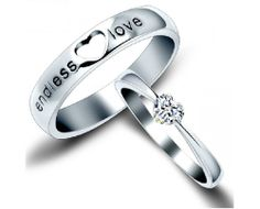 "New Fashion ""Endless Love"" Heart Shape Unique 925 Sterling Silver Lover's Heart Couple Rings - USD $77.95"