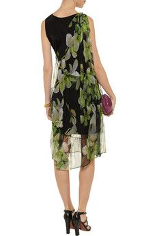 Layered floral-print mesh and silk-jersey dress by Roberto Cavalli