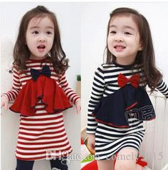 Wholesale 2015 Girl Spring Autumn Fashionable Striped Dress Baby Girls Bow Long Sleeve Casual Straight Dress Online with $32.04/Piece on Comely2015's Store | DHgate.com Girls Fancy Dresses, Baby Girl Dresses, Baby Dress, Baby Girl Bows, Baby Girls, Girls Stripping, Straight Dress, New Girl, Striped Dress
