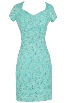 Gathered Sequin and Lace Capsleeve Pencil Dress in Aqua  www.lilyboutique.com