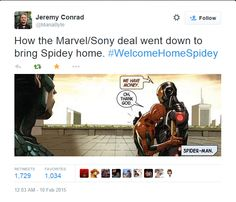 Probably the most accurate reaction to the Spiderman announcement.