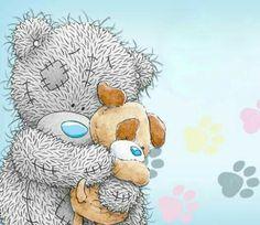 Tatty Teddy and dog Tatty Teddy, Teddy Bear Images, Teddy Bear Pictures, Baby Teddy Bear, Cute Teddy Bears, Calin Gif, Cute Images, Cute Pictures, Watercolor Card