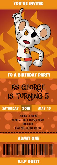 Danger Mouse Birthday Invitation designed by me at Nics Designs.
