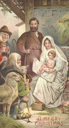 Vintage Christmas card with Joseph, Mary, and baby JESUS! (1/2/2014) Christmas  (CTS)