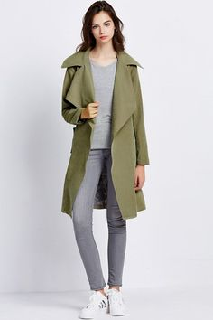 $51.99 | Army Green Lapel Neck Belted Dressy Coat | Evergreenfashion