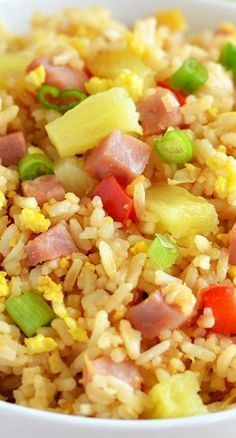 Hawaiian Fried Rice.   GF, make without the red pepper...