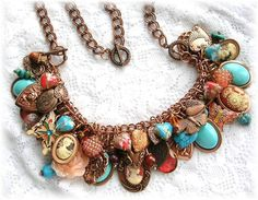 Vintage Cameo Heart Charm Bracelet Necklace Butterflies Copper Aqua from thevintageheart on Ruby Lane