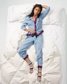 J.Crew women's chambray pajama set with grosgrain trim and trouser socks in striped colorblock.