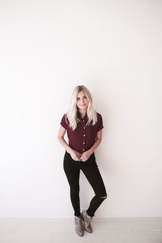 """• Maroon button down tie back shirt • Available in sizes S, M, L. Aspyn is 5' 4"""" and wearing a size small • 100% VISCOSE"""