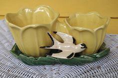 Vintage 1950s McCoy Pottery Ceramic Double Tulip by retrowarehouse