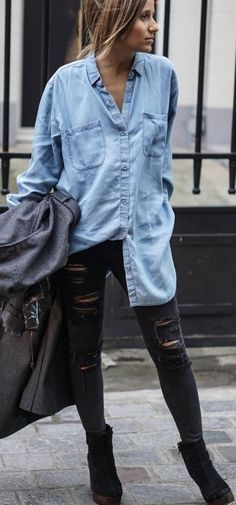 #spring #summer #street #style #outfitideas | Chambray + Ripped Black
