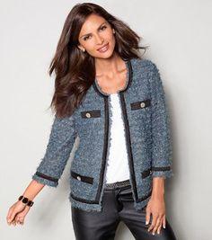 Chaqueta CHANEL o Corte Princesa, hazla tú misma! Plus Size Blazer, Chanel Jacket, Estilo Fashion, School Fashion, Tweed Jacket, Blazers For Women, Outfit Sets, My Wardrobe, Casual Chic