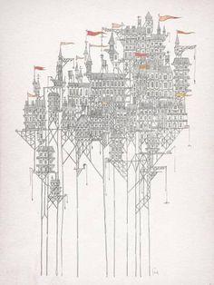 "Zenobia / screen printed illustration based on Italo Calvino's ""Invisible cities"". work by Fleck. Art And Illustration, Invisible Cities, Art Graphique, City Art, Framed Artwork, Science Fiction, Giclee Print, Art Prints, Photos"