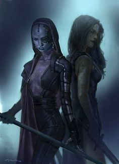 Guardians of the Galaxy concept art - Gamora and Nebula by Andy Park *