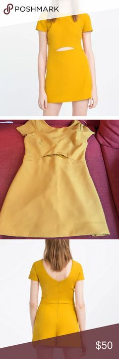 Zara Yellow Romper Worn once! Super cute retro but still modern. Perfect golden yellow. Worn once. Open to offers. Not looking to trade but will check it out. Trying to slim down the closet for an out of state move! Zara Pants Jumpsuits & Rompers