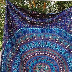 Mesmerizing medallion tapestry crafted in soft woven cotton. Instantly adds a…
