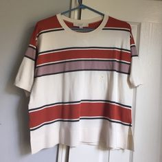 Loft cropped sweater Striped cropped short sleeve sweater. Never worn. Tags still attached. LOFT Sweaters