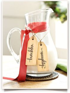 """Mark alcoholic/non alcoholic drinks with """"naughty"""" or """"nice"""" tags. Southern Living Set of 6 Holiday Tags Also, """"water,"""" """"eggnog,"""" """"punch,"""" and """"cider. Christmas Style, Christmas Holidays, Christmas Crafts, Christmas Decorations, Holiday Decor, Christmas Ideas, Happy Holidays, Holiday Ideas, Celebrating Christmas"""