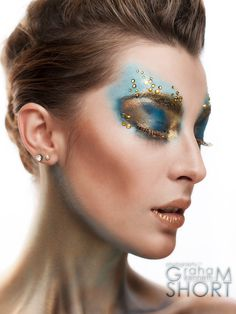 Azure & Gold Creative Makeup Beauty Photoshoot  Model: Faye Hunter MUA: Tara Shenton  Photography & Retouching: Graham Kenneth Short