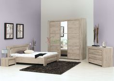 Gami Bed Set - Gami Sarlat bed set by Gautier is a modern bed set that comes with four bed sizes and beautiful Taupe Oak Effect finish. Three types of wardrobes w/ wooden & mirror doors, nightstand, chest, and mirror are options to make a Gami bed set. Oak Bedroom Furniture Sets, Living Furniture, Luxury Furniture, Furniture Design, Wood Furniture, Furniture Ideas, Modern Furniture, Interior Design Shows, Interior Design Inspiration