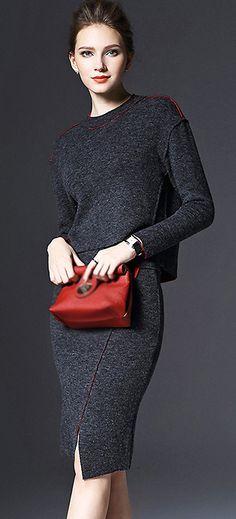 Brief O-Neck Long Sleeve Woolen Two Piece Bodycon Dress