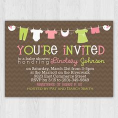 Onesies Clothesline Girl Baby Shower Invitation by Perpetual Love Design    #babyshower #party #invitation #baby #shower #girl #onesies #clothesline #perpetuallovedesign
