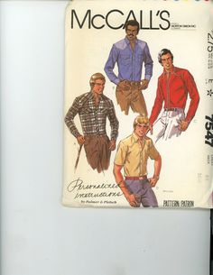 McCalls 7547 Vintage Pattern Mens Casual Button Up Shirt In 4 Variations Size 44 - Sewing Patterns