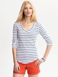 Stripe Banded V Neck Tee / Banana Republic  {apparently my mind doesn't think i have enough stripes in my closet}