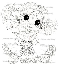 Honey and Lettuce Easter Besties digi stamp by Sherri Baldy Colouring Pages, Adult Coloring Pages, Coloring Books, Big Eyes Artist, Line Art Images, Gothic Culture, Creation Art, Black And White Lines, Digi Stamps