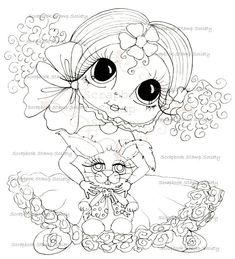 INSTANT DOWNLOAD Digital Digi Stamps Big Eye Big Head Dolls Digi   Besties IMG630 By Sherri Baldy