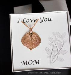 Rose Gold Aspen Leaf Pendant Necklace Real Aspen Leaf Necklace for MOM by LiveLoveLeaf #mothersdaygiftideas #mothersday #giftideas #beautiful #liveloveleaf #mother #mom #momjewelry #thankyoumom #iloveyou #iloveyoumom