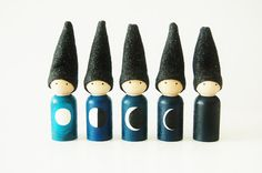 Phases Of The Moon Gnomes - Educational Toys - Waldorf Dolls - Leaning Game - Moon Dolls - Unique Gift - Christmas - Hanukkah