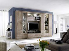 Wohnwand Wallis II 6tlg. passend zum Möbelprogramm Wallis Wohnwand bestehend aus: 1 x Vitrine links mit 3 Holztüren 1 Glastüre 2 Schubkästen Einlegeböden B/H/T ca. 90 x...