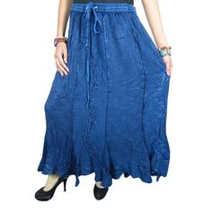 Mogulinterior Long Peasant Skirt Purple Stonewashed Embroidered Vintage Style Hippie Gypsy Skirts