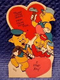 Image result for THREE LITTLE PIGS vintage valentine