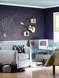 best teen boy bedrooms | chill grey and orange room design for a