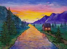 Free Acrylic Painting Tutorial on YouTube by Angela Anderson #cabin #sunset #pinetrees #river #acrylicpainting
