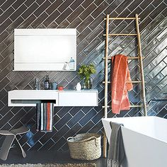 Diagonal subway tiles Handmade tiles can be colour coordinated and customized re. shape, texture, pattern, etc. by ceramic design studios