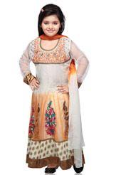 Off White Net and Viscose Readymade Anarkali Churidar Kameez