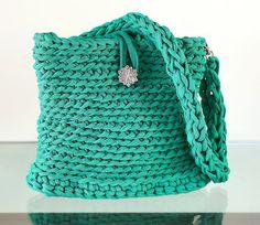Crochet XXL  Bolso de trapillo verde jade by Gnolo on Etsy