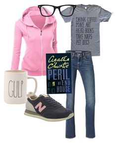 """""""Coffee Shop Uniform"""" by shelly-mcclendon-baggett ❤ liked on Polyvore featuring Levi's, New Balance, Ray-Ban and Magenta"""
