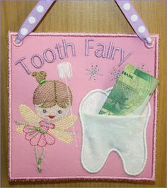 Tooth Fairy Door Hanger with working pocket for the tooth and money - So cute! - from Hatched in Africa