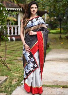 015c0c36a1 Grey striped chanderi saree & with light grey chanderi pleats & exclusive  hand batik border