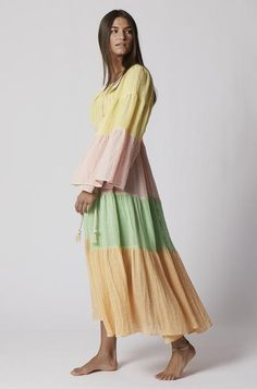 CHIOS GAUZE PEASANT DRESS (PRE-ORDER) – Lisa Marie Fernandez Festival Wear, Summer Wardrobe, Chios, Casual Looks, Tie Dye Skirt, Nice Dresses, Lisa Marie, Bell Sleeves, Cute Outfits