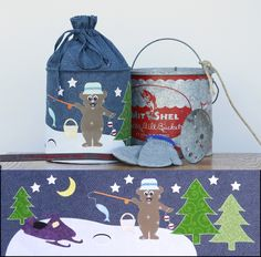 "Winter's Catch  Make a fun Winter themed pop up that is also a gift bag for someone special!  Kit includes Pattern, one Medium Pop-Up Spring, and a FQ Gypsy Label. Finished Size: 8"" D x 11"" H  I recommend Barely There Printable Fusible Web         by Swirly Girls Design   @swirlyGirlsDesign  #Winter #applique #sew"