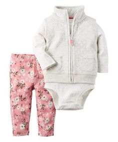 Look what I found on #zulily! White & Pink Quilted Vest SEt - Infant #zulilyfinds