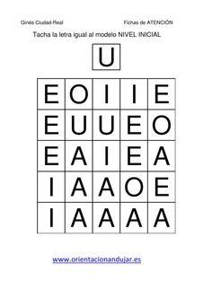 tacha las vocales mayusculas igual al modelo  fichas-10 Alphabet Worksheets, Preschool Worksheets, Teaching, Education, Logos, Writing, Early Education, Alphabet, Shape