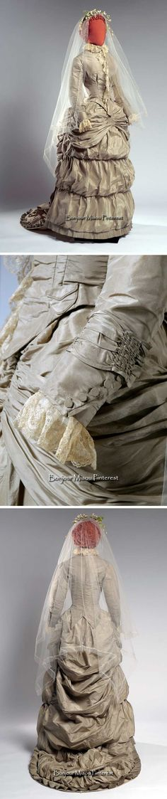 Wedding dress, 1882. Silk, cotton, wax, net, bone, iron. Agnes Etherington Art Centre, Queen's Univ.