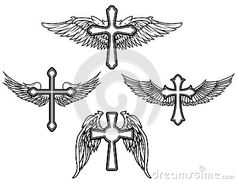 Set of the cross with wings