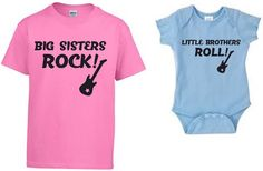 Big Sisters Rock / Little Brothers Roll COMBO SET t-shirt and baby bodysuit - you choose colors - brothers sisters rock with guitar by Ilove2sparkle on Etsy https://www.etsy.com/listing/259167349/big-sisters-rock-little-brothers-roll